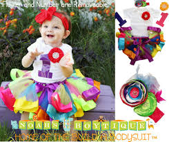 rainbow girls first birthday ribbon tutu colorful 1st