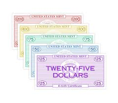 online gift certificates give an online coin gift certificate from the us mint