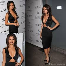selena gomez celebrity red carpet cocktail formal gowns plunging