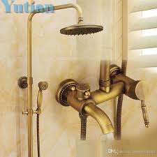 Brass Shower Faucets Wall Mounted Mixer Valve Rainfall Antique Brass Shower Faucet