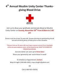 annual muslim unity center thanksgiving blood drive the muslim