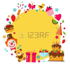 happy birthday card flat vector illustration kids party and