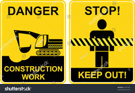 construction work keep out signs construction stock vector