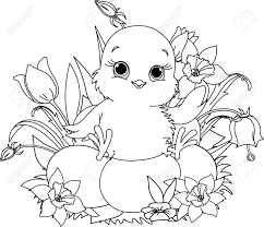 newborn sitting on easter eggs coloring page royalty free