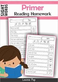 sight word fluency reading homework and word sentences