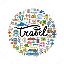 travel symbols images Cute decorative cover with hand drawn colored symbols of travel jpg