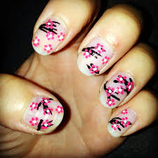 jersey texan heart cherry blossom nail art diy