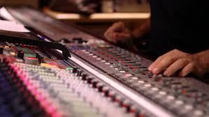 Sound Desk Marking Audio Recording Desk Console In Recording Studio For Sound
