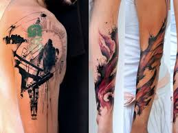 stencil and watercolor tattoos klaim u0027s tattoo style has naturally