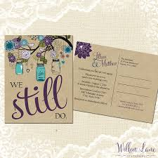 vow renewal invitations vow renewal postcard we still do green purple blue