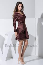 chic short long sleeve embroidery party dress cocktail homecoming