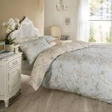 vantona rosa floral design duvet cover set blue bedding