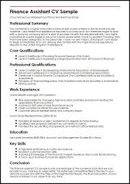 resume template for account assistant cv finance assistant cv sle myperfectcv