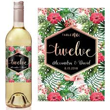 gold wine bottle table numbers tropical rose gold number table number wine label icustomlabel