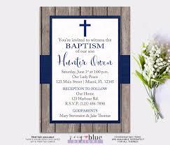 Confirmation Invitation Cards Boy Baptism Invitation Rustic Navy Blue Boy Christening