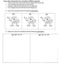 Dihybrid Cross Punnett Square Worksheet Monsters Inc Punnett Square Practice Science Homework