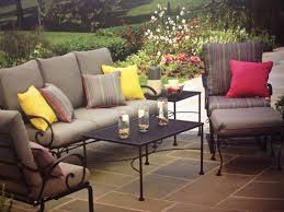Patio Chair With Ottoman Set Patio Ideas Rod Iron Patio Furniture For Patio With Plants Fence