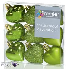 40mm multi finish hearts christmas tree baubles shatterproof