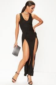 roxina black leg split maxi dress