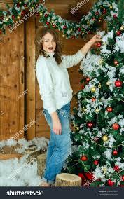 beautiful new years dresses beautiful woman new year interior dresses stock photo 696667984