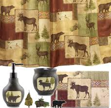 Bathroom Sets Shower Curtain Rugs Cabin Accessories Moose And 5 Bath Set Cabin