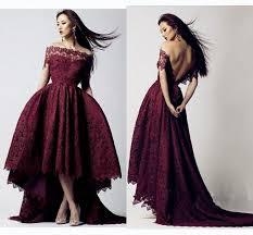 2016 black prom off shoulder v back maroon burgundy lace