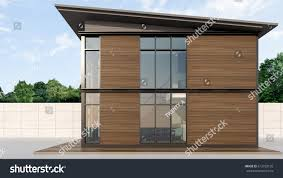 shipping container homes wooden wall 3d stock illustration