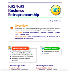 business entrepreneurship teaching resource for key stage 2 and 3