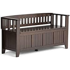 amazon com simpli home acadian solid wood entryway bench rich