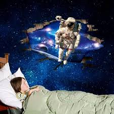 2017 latest outer space wall art wall art ideas 3d wall stickers wallpaper space astronauts decor kids room decal regarding outer space wall art