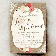 rustic wedding invitation lace wedding invitation burlap