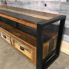 cancun industrial reclaimed wood tv stand rustic furniture outlet