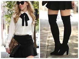 White Blouse With Black Bow Chanel Inspired Bow Tie Blouse Flounce Mini Skirt U0026 Otk Suede