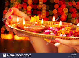 1 indian festival diwali diya thali worship stock photo
