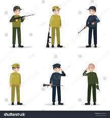 men set men set weapon flat style stock vector 680982220