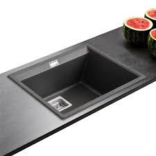 evier cuisine granit noir evier granit noir 1 bac sans égouttoir 555x455 delis des