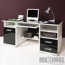 Schreibtisch Mit Computertisch Schreibtisch Bürotisch Computertisch Weiß Und Schwarz Glas Ebay