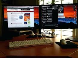 Desk Setup Desk Desk Size For Dual Monitors Best Desk Setup For Two