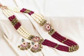color necklace images Designer artificial maroon color long necklace set for women jpg