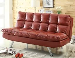 contemporary red vinyl sofa bed with pillow top cushioning big