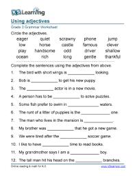 fillable online grade 3 grammar worksheet adjectives in