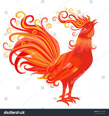 fire rooster crowing symbol new year stock vector 517294258