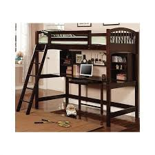 wooden loft bunk bed with desk coaster twin wood loft bunk bed with workstation in cappuccino