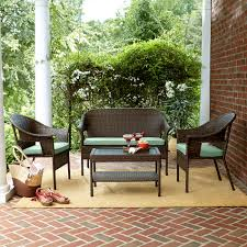 Curved Wicker Patio Furniture - jaclyn smith reece 4 piece brown wicker seating with green