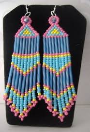 Ruby Red Long Brick Stitch Montana Blue Long Brick Stitch Chandelier Earrings Beaded