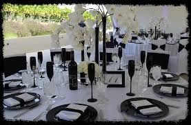 black and white chair covers event design company party rental draping
