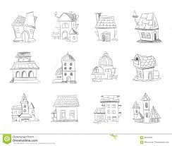 hand drawn cartoon different houses buildings line sketch