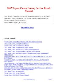 2007 toyota camry factory service repair manual pdf by ting wang