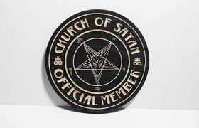 church of satan official member plaque wooden carved in