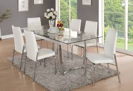 osias dining table 73150 in chrome w clear glass top by acme